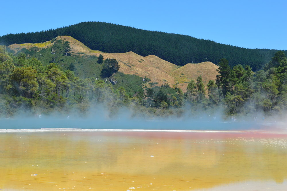 geothermal pool with colourful water