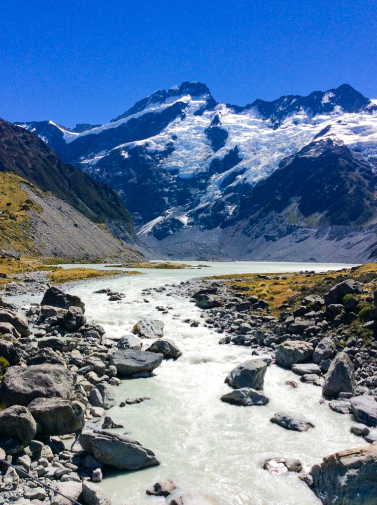 glacier river running from mountains