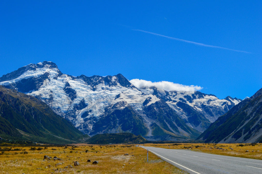 mount cook with straight road