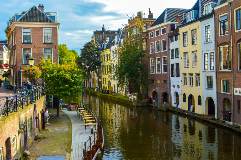rows of houses on a canal in Utrecht
