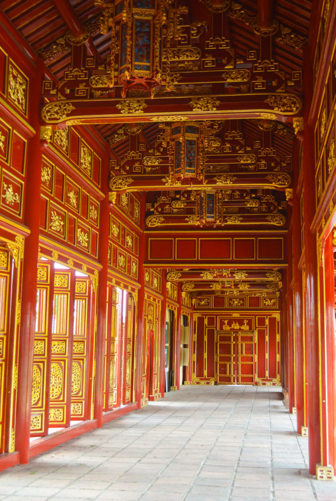 red and gold wooden corridors