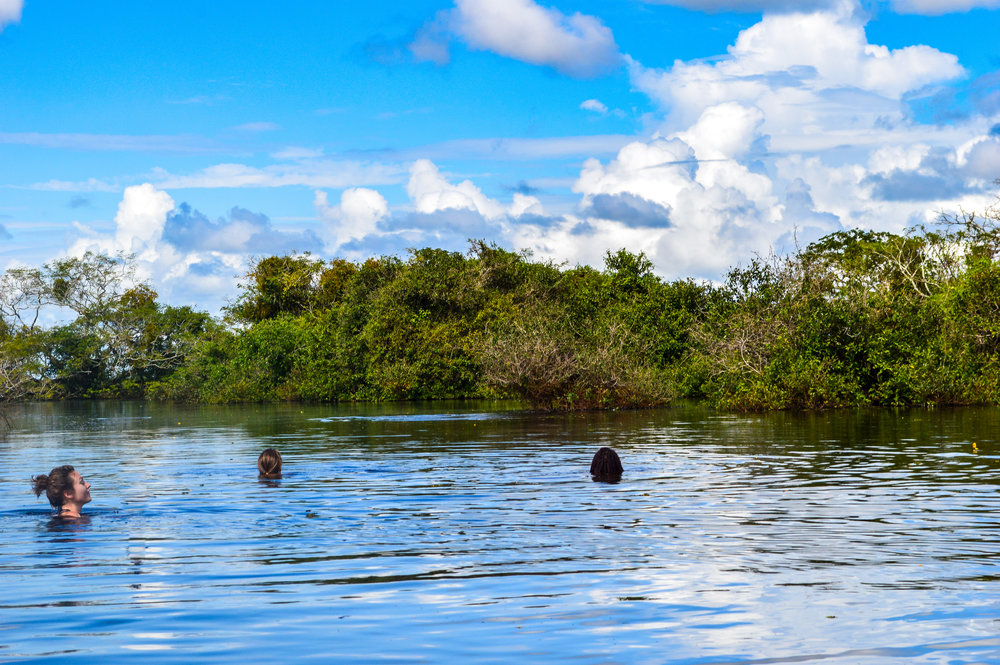 women swimming in the Pampas river in Bolivia looking for pink dolphins