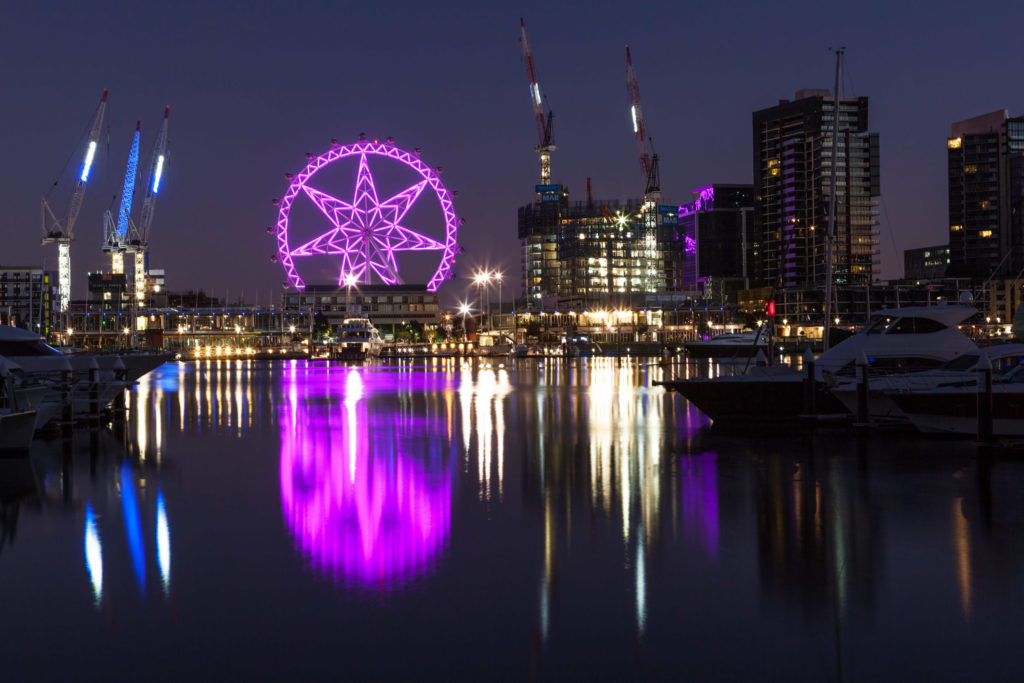 melbourne star reflecting in the yarra river
