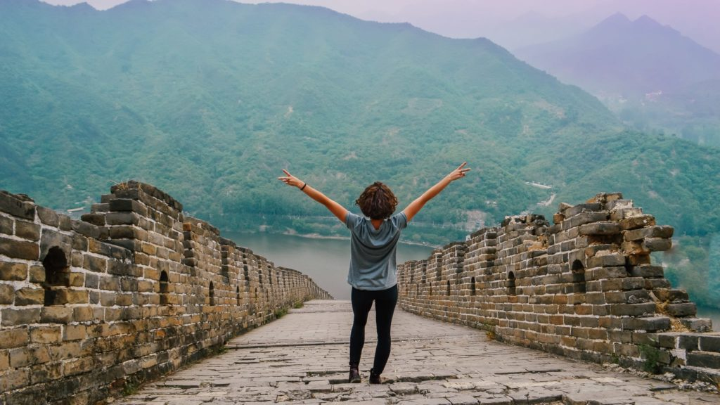 girl posing on the great wall of china