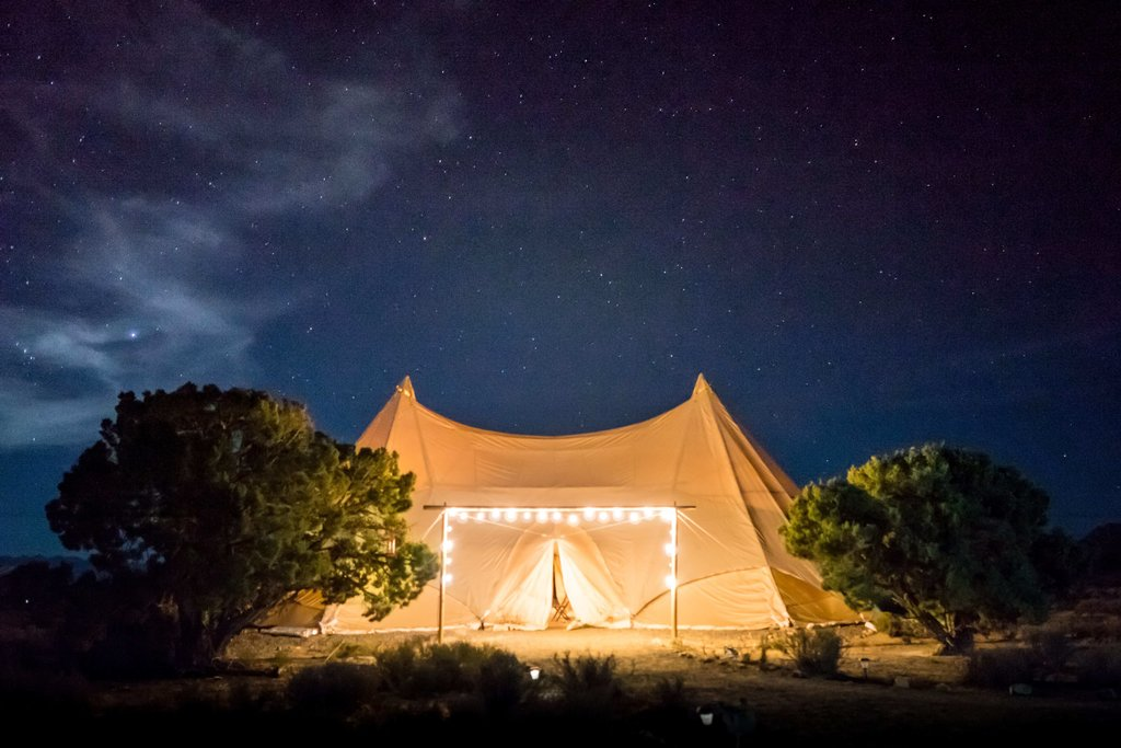 large glamping tent at night in Victoria Australia