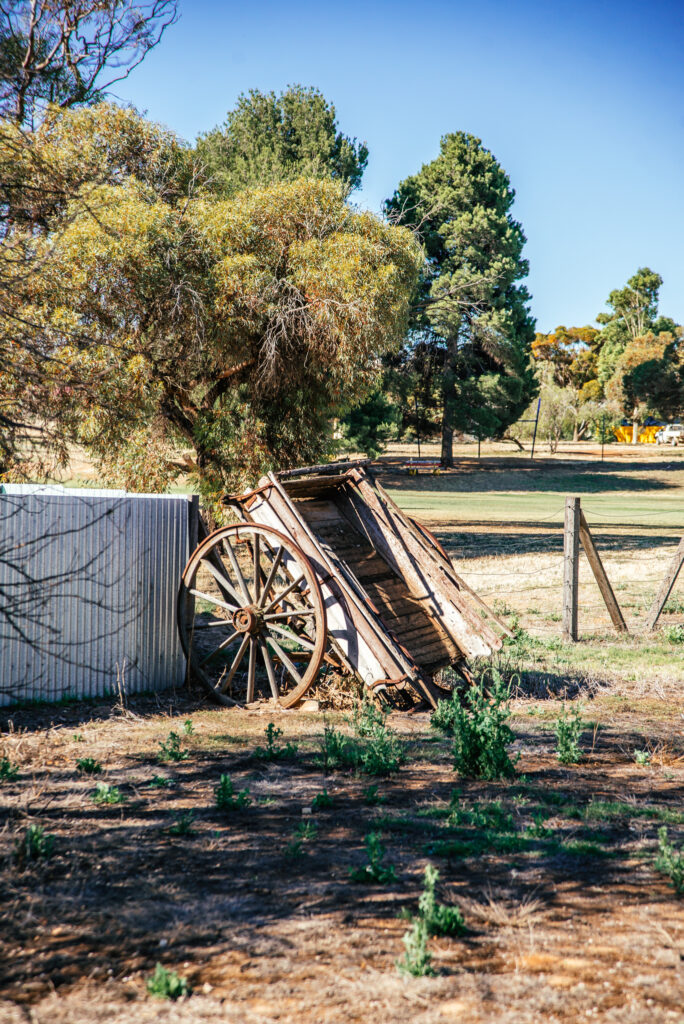 old wooden cart within historic brewery ground