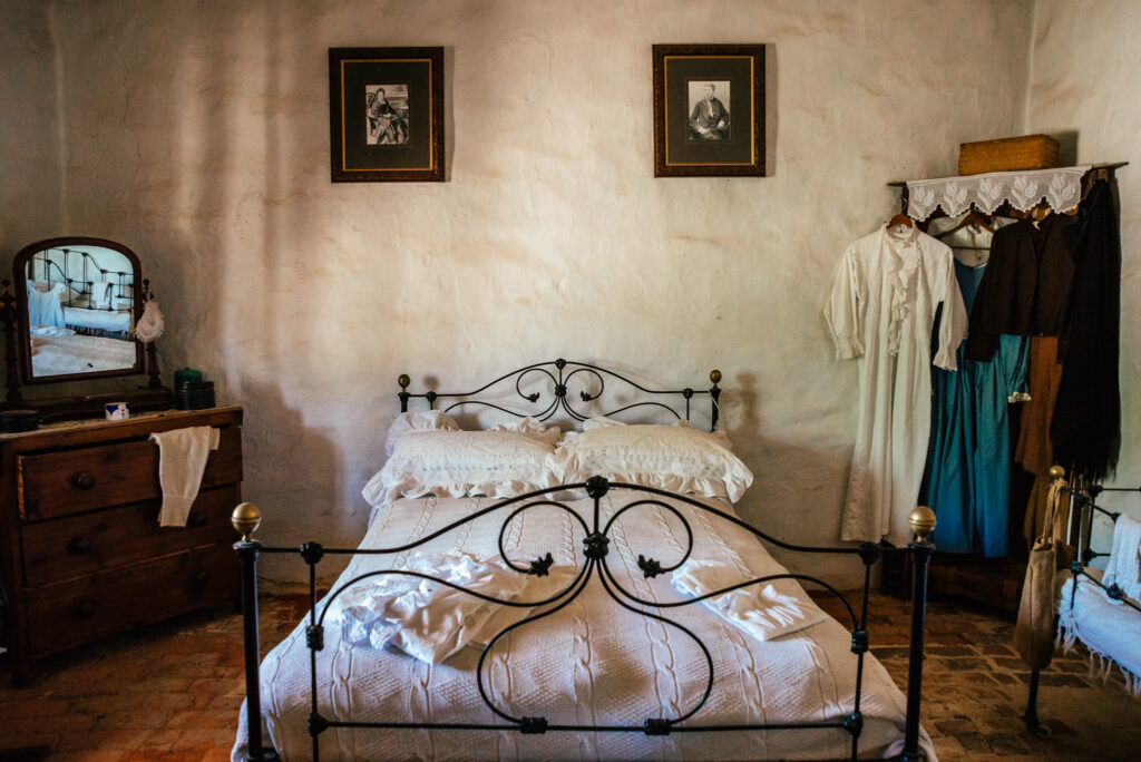 bedroom of 1850 miners cottage in museum