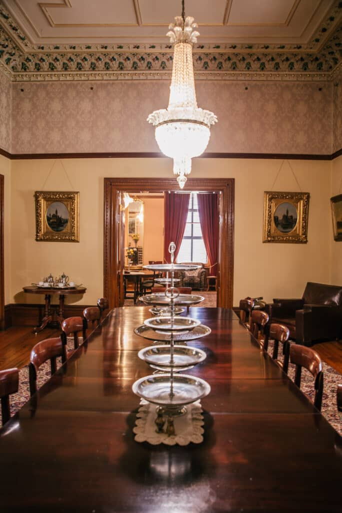 dining room of Martindale Hall with silverware