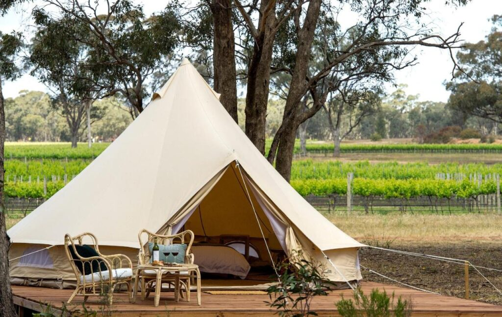 glamping by a vineyard