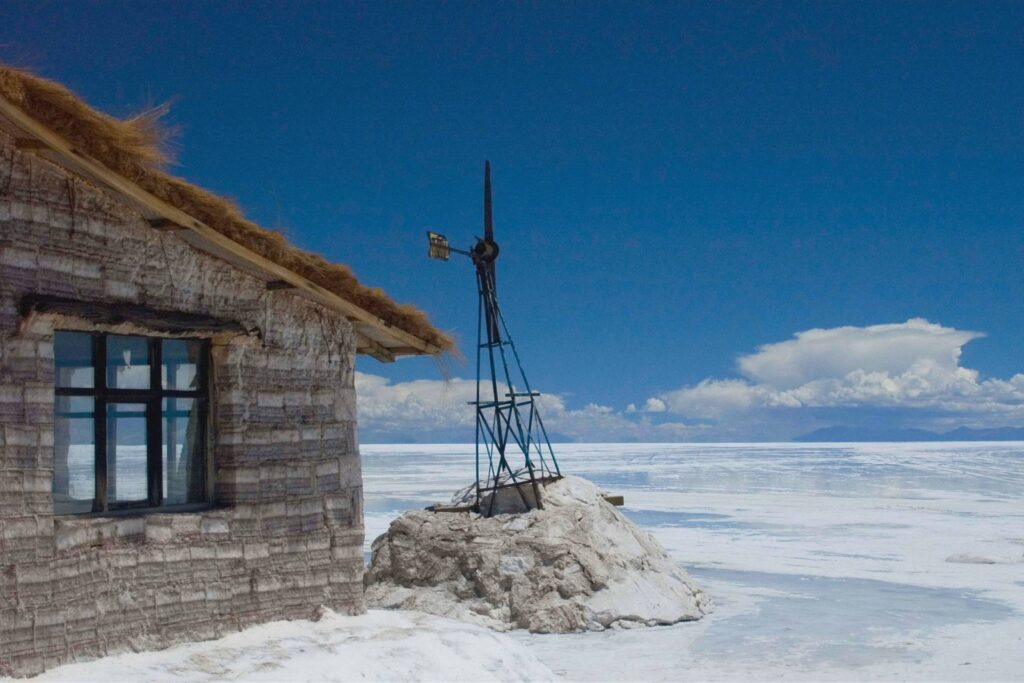 a house made of salt and salt flats in Bolivia